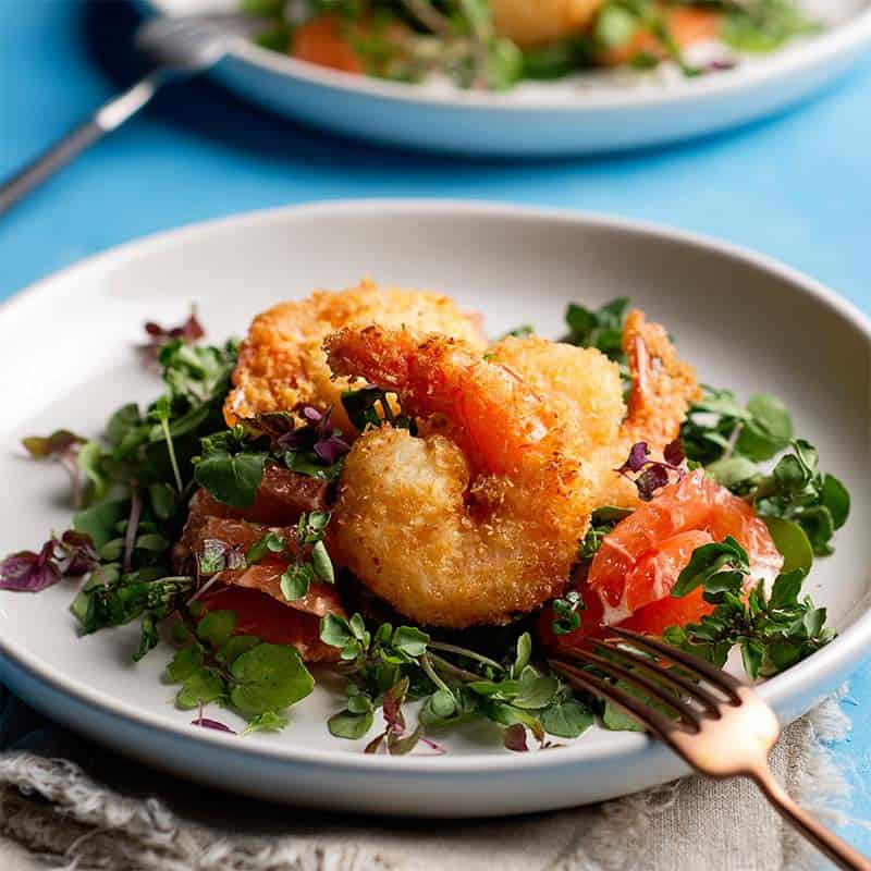Coconut Crumbed Prawns With A Ruby Grapefruit Salad Recipe 800x800